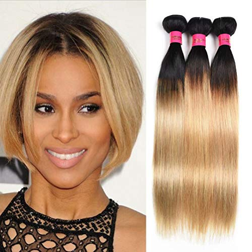 WOME Ombre Blonde Human Hair Bundles 8A Grade Peruvian Virgin Hair Weaves 3 BundlesOmbre Blonde T1b/27# Straight Human Hair Weaves Extensions(10' 12' 14')