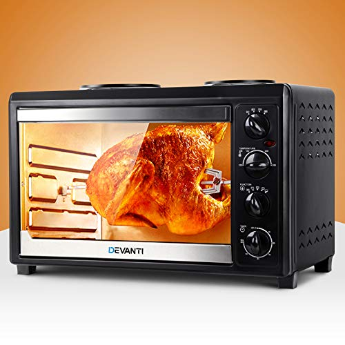 New Family Convection Oven Electric 45L Large Bake Benchtop Hot Plate Rotisserie