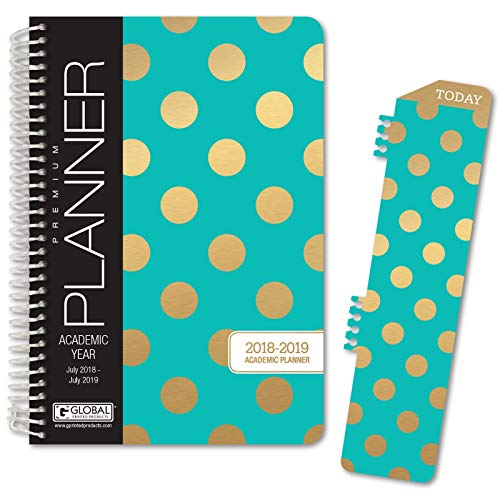 Best Planner 2018 Agenda for Productivity, Durability and Style. 5x8 Daily Planner/Weekly Planner/Monthly Planner/Yearly Agenda HARDCOVER Organizer with Bookmark and Journal (Gold Dot Turquoise)