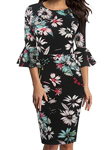 oxiuly Women's Casual Scoop Neck Floral Flare Sleeve Midi Work Sheath Dress OX292