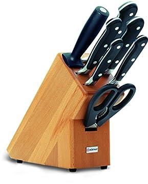 Wüsthof Messerblock 7-teilig, Classic (9835-200), Küchenmesser Block (helle Buche) mit 5 Kochmessern, 1 Wetzstahl, 1 Schere, gutes Kochmesser-Set
