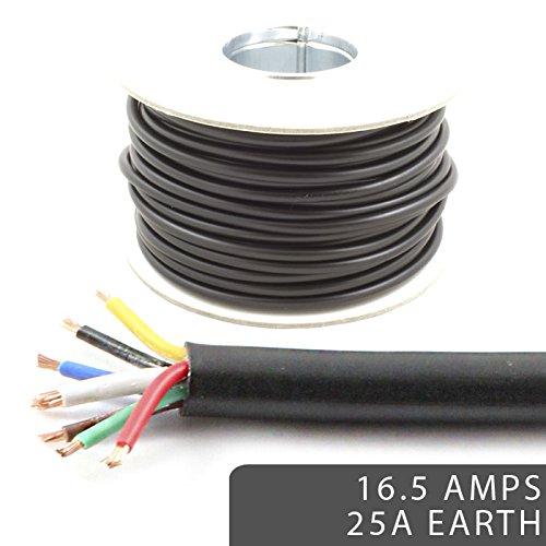 Cable de 7 núcleos 12 V, 24 V, cable de pared delgado de 16,5 AMP, clasificado con 25 AMP a tierra, luces LED para remolque/caravana (10 m)