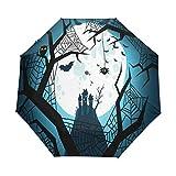 Luna Negra Búhos Nocturnos Paraguas Plegable Hombre Automático Abrir y Cerrar Antiviento Protección UV Ligero Compacto Paraguas para Viajes Playa Mujeres Niños Niñas