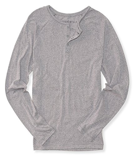 AEROPOSTALE Mens Heathered LS Henley Shirt, Grey, X-Small