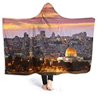 """Hoodie Blanket Middle East Hooded Throw Wrap Cape Cloak Fleece Girls Windproof Home Office Shawl Flannel with Sleeves,50""""x40"""""""
