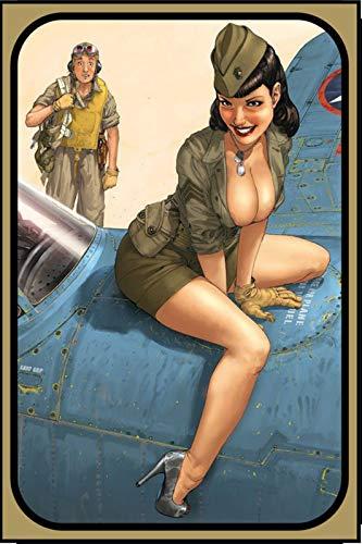 FS Army Pinup Girl op vliegtuig metalen bord gebogen metalen teken 20 x 30 cm