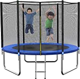 Trampoline 10FT 12FT 14FT for Kids Adults Spring Jump Recreational Trampolines with Enclosure Net, Combo Bounce Outdoor Trampoline, Non-Slip Ladder, ASTM Approved (14FT with Basketball Hoop)