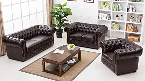 Lifestyle For Home Chesterfield Polstergarnitur 3 2 1 Sofa Sessel Set Coffee braun glänzend Steppung