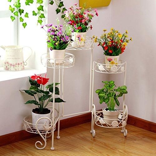 Porte-fleurs en fer Bâton intérieur Bonsai Cadre Balcon Cadre fleur Folding blanc (69.5 * 73cm)