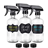 Glass Spray Bottle-Empty Spray Bottle Refillable 16oz Container is Great for Essential Oils,Homemade Cleaners,Aromatherapy, Misting Plants with Water, and Vinegar Mixtures for Cleaning (3 Pack)