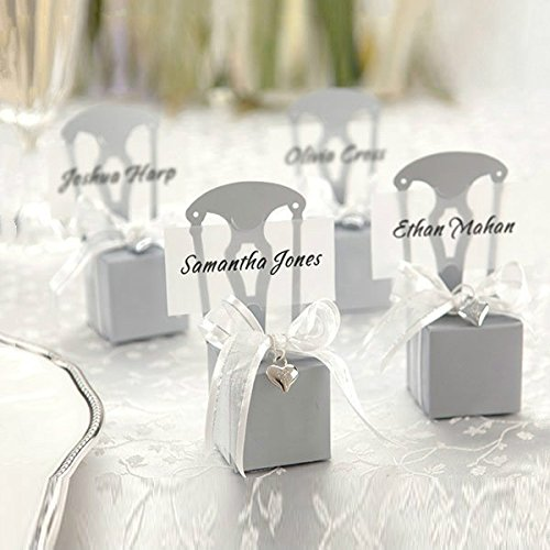 Xin store Miniature Silver Chair Candy Favor Boxes with Heart Charm and Ribbon for Wedding Party, Pack of 50