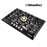 WindMax Brand New 30' Black Titanium Plated Stainless Steel Golden Burner Built-In 5 Stoves NG Natural Gas Cooktops Cook Top Cooker