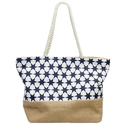 Caspar TS1035 Damen Strandtasche mit STERN Muster, Farbe:dunkelblau, Größe:One Size
