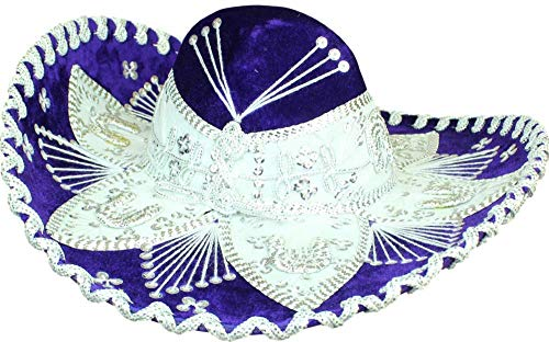 Auténtico Sombrero de Sombrero de estilo de flores de Mariachi Sombrero de primera calidad fabricado en México (elige tamaño y color)