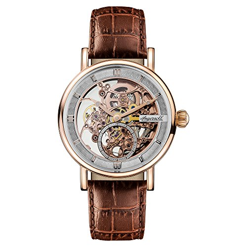 Ingersoll Men's The Herald Automatic Watch with Skeleton Dial and Brown Leather Strap I00401