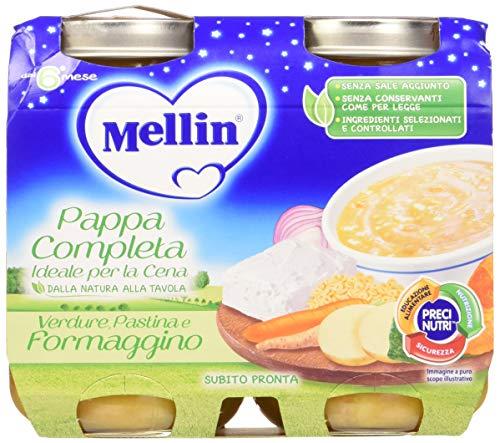 Mellin Pappa Completa Pastina Verdure e Formaggino, 6 Confezioni da 2x200 gr