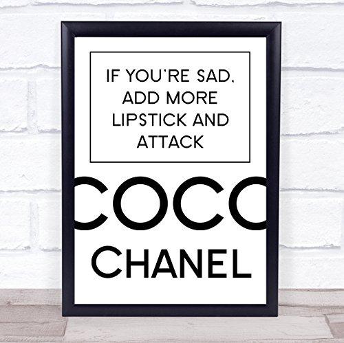 Coco Chanel triest toevoegen lippenstift citaat muur kunst afdrukken Framed White Small