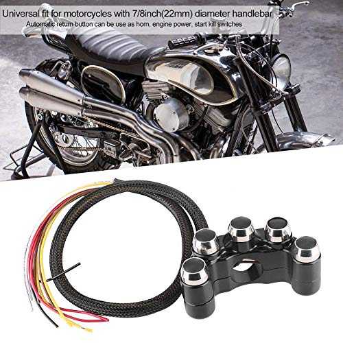 Interruptor de manillar, interruptor de manillar de motocicleta, negro para cuerno