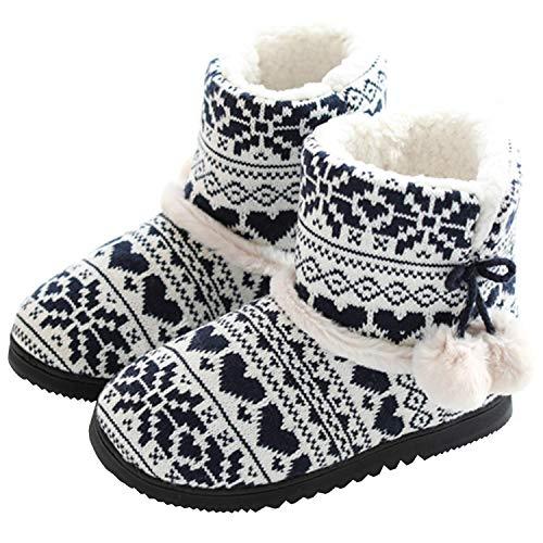 AONEGOLD Hausschuhe Damen Hausstiefel Baumwolle Pantoffeln mit Plüsch rutschfest Winter Indoor(Blau,Größe 37/38 EU)