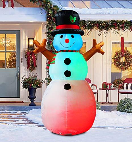 ParaYOYO - Muñeco de nieve hinchable de 2,4 m de alto, con luz intermitente multicolor para decoración de Navidad