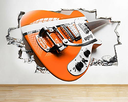 Pegatinas de pared Guitarra Eléctrica Naranja Fresca Música Agujero Pared Calcomanía 3D...