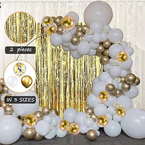 STARSHINE Balloon Garland Arch Tinsel Fringe Foil Curtains Kit White Gold Confetti Extra Large Balloons Party Decorations for Birthday Wedding Baby Shower Bridle Shower Centerpiece Backdrop