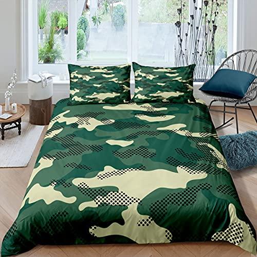 Juego de cama de camuflaje de tamaño doble, diseño de camuflaje abstracto, funda de edredón para niños, adolescentes, hombres, dormitorio, decoración verde del ejército, funda de edredón de 3 piezas