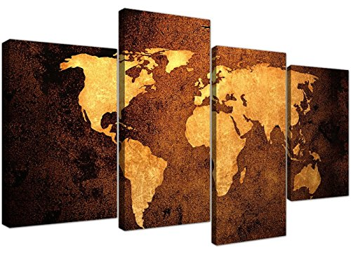 Canvas Pictures of a World Map in Brown and Tan for your Bedroom - Large Vintage Wall Art - 4188 - Wallfillersby Wallfillers Canvas