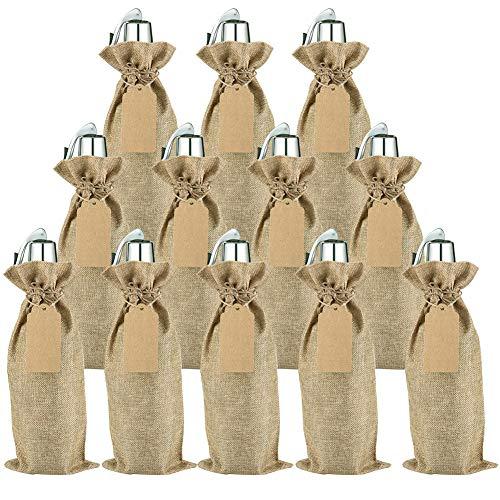 Irich Sacchetti Portabottiglie Vino con Coulisse, 12 Pezzi Riutilizzabili Borse Porta Vino e Etichette per Oro Argento Rosso Vino Champagne Spumante (Canapa Colore)