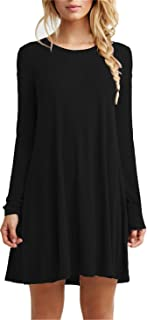 Women's Casual Plain Fit Flowy Simple Swing T-Shirt Loose Tunic Dress