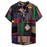 ZahuihuiM 2019 Männer lässig gedruckt ethnischen kurzen Ärmeln, lose Multi-Color-Mode Hawaii-Stil T-Shirt, Bequeme Baumwolle und Leinen Henry Krawattenknopf Hemd (Mehrfarbig, XXXL)
