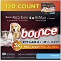120 Count Bounce Pet Hair and Lint Guard Mega Dryer Sheets for Laundry
