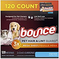 120-Count Bounce Pet Hair and Lint Guard Mega Dryer Sheets for Laundry