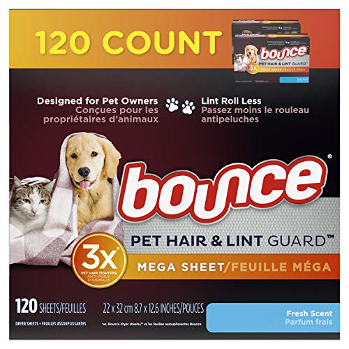 Bounce Pet Hair and Lint Guard Mega Dryer Sheets for Laundry, Fabric Softener with 3X Pet Hair Fighters, Fresh Scent, 120 Count, White