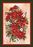 Toland Home Garden Poinsettia Spray 12.5 x 18 Inch Decorative Red Christmas Flower Winter Bouquet Garden Flag - 110570