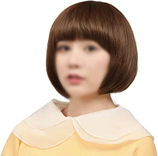 Straight Full Wigs Bob with Hair Bangs Natural Looking Short Bob Wigs,Hairpieces (Color : Brown)