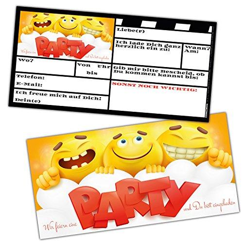 BREITENWERK Smiley EINLADUNGEN Karten-Set XL - 24 Coole Emoji Einladungskarten zum Ausfüllen - ideal für Jungen Mädchen Kindergeburtstag Party