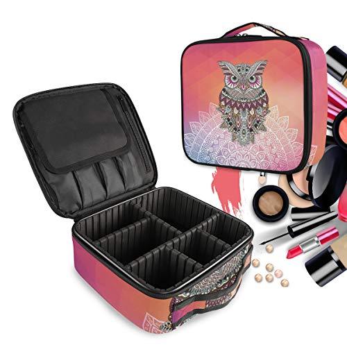 Búho De Noche Colorido Rey Bolsa de Maquillaje Organizador de Cosméticos Portátil Estuche Mochila con Divisor Ajustable para Mujeres Niñas