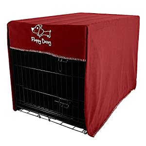 Floppy Dawg Crate Cover. Fits 42 Inch Dog Crates or Smaller. Easy to Put On, Take Off, and Adjust. Doubles as a Comfy Blanket. Royal Red Lightweight and Breathable Polar Fleece.