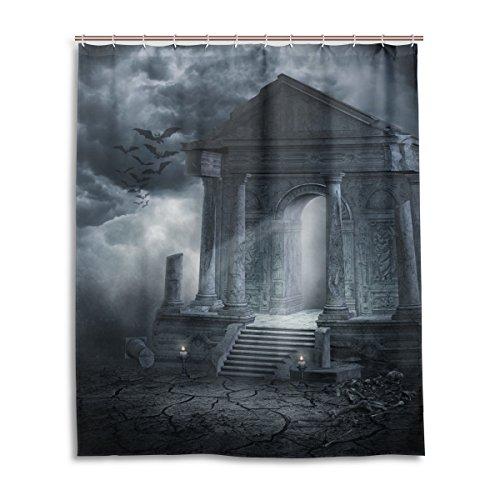 Bad Vorhang für die Dusche 152,4x 182,9cm Gothic todesopfer Tür Dark Bat Wolken Nacht Art Polyester-Schimmelfest-Badezimmer Vorhang