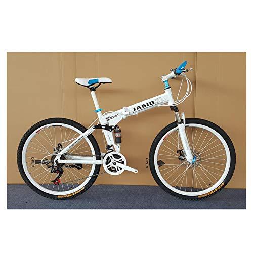 KXDLR 21 De Velocidad De Bicicletas De Montaña, 26-Pulgadas Marco De Aleación De Aluminio, De Doble Suspensión Dual De Disco Hidráulico De Frenos De Bicicletas, Neumáticos Todoterreno,Blanco