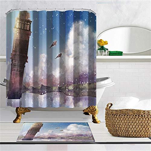 ZLWSSA Cortina De Ducha A Prueba De Agua 3D Fairy Tale Seascape Lighthouse Baño Poliéster A Prueba De Moho 180x240cm