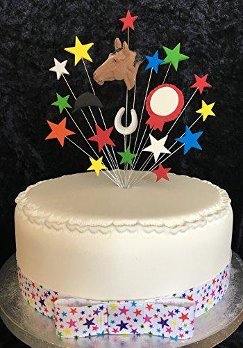 Paard en rozet Verjaardagstaart Topper Veelkleurig Elke leeftijd kan worden toegevoegd met 1 x Meter 25mm Star Ribbon Met Bijgevoegde Bow PLUS 1 vel 20mm Zilver Stick Op Nummers