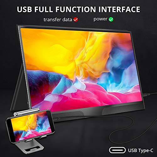 Portable Monitor USB C Display, UPERFECT Externer Bildschirm 1920 * 1080 IPS Full HD Tragbarer Gaming Monitor mit Typ C/Mini HDMI/Dual Lautsprecher für Laptop, PS4, Xbox, Handy