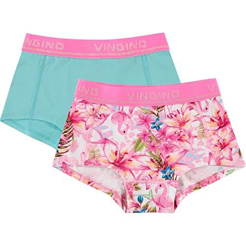 Vingino Mädchen 2tlg. Set Boxershorts Slips Shorts Tropical neon pink (L - 146/152)