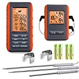 Wireless Meat Thermometer for Grilling Smoking - Remote Cooking Thermometer with 3 Probes - Monitor Food and Ambient Temperature Inside The Grill Smoker BBQ - Digital Oven Thermometer, 490ft Range