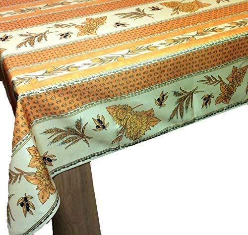 Mantel Provenzal cuadrado antimanchas 150 x 150 cm, diseño de girasol, color amarillo