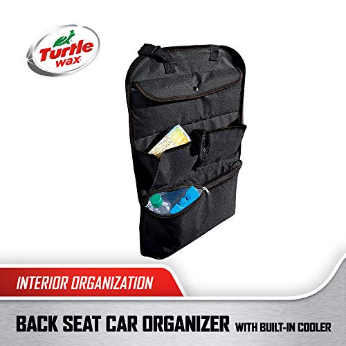 Turtle Wax Hanging Back Seat Car Organizer with Cooler, Black