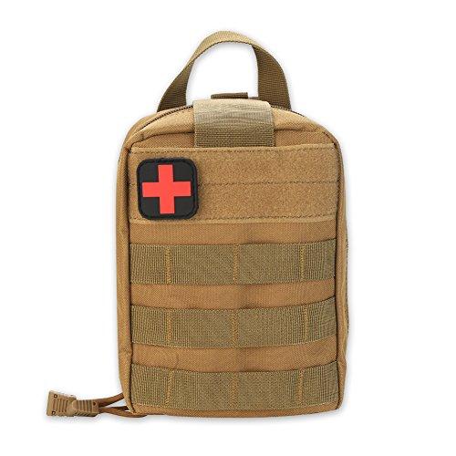 Botiquín de primeros auxilios, Molle Médico Bolsa Botiquín de Primeros Auxilios Supervivencia Emergencia para Hogar Camping Caza, Bolsa de Primeros Auxilios, Bolsa de Emergencia de Escalada(Caqui)