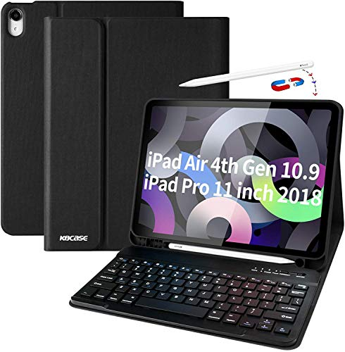 Funda con teclado para iPad Air 4 10.9 2020, con soporte para bolígrafo, teclado magnético extraíble Bluetooth con disposición QWERTZ para nuevo iPad Air 10.9 2020 / iPad Pro 11 2018 (2ª generación)